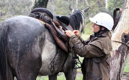 Female rider. And horse in the Australian outback Royalty Free Stock Photos