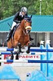 Female rider on show jump horse Stock Image
