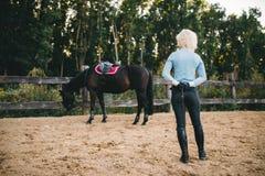 Female rider trains her horse, horseback riding Royalty Free Stock Images