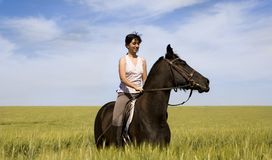 A female riding on a black horse Stock Images