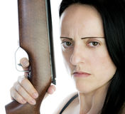 Female with riffle Stock Photo