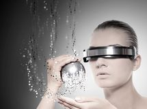 Female robot. Picture of a Female robot. Nanotechnology concept royalty free stock images