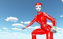 Female robot against a blue sky with clouds. Computer generated 3D illustration with a female robot against a blue sky with clouds Stock Photography