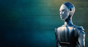 Female robot against reflective blue background. Close up portrait of female robot in chrome suit against reflective blue and green steel background