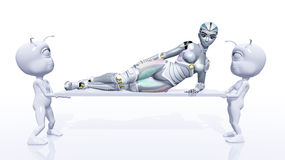 Female Robot with Aliens Stock Photos