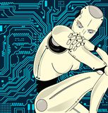 Female robot with artificial intelligence, sits pensively on the background of circuit board. Can illustrate the idea of. Machine learning, artificial neural Stock Images