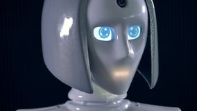 A female robot with blue digital eyes and a blinking mouth line. 4K.