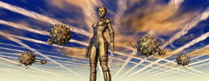 Female robot and busy aliens. Computer generated 3D illustration with female robot and busy aliens Stock Photo