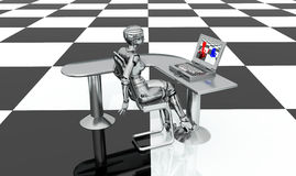 Female robot, desk and laptop Royalty Free Stock Photos