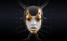 Female Robot Face Futuristic Design Stock Images