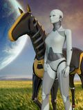 Female Robot & Robot Horse on a Deserted Planet. 3d model of a female robot and robot horse on a deserted planet royalty free illustration