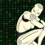 Female robot, with its artificial intelligence, sits lost in thought on a isolated background of binary code. Can. Female robot, with its artificial intelligence Royalty Free Stock Photo
