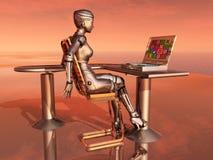 Female robot and laptop Stock Photos