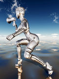 Female robot with megaphone Stock Photography