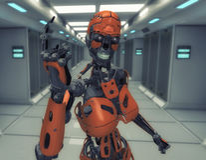 Female robot number one vector illustration