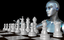 Female robot playing with the white chess pieces Stock Photos
