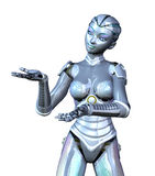 Female Robot Presenting Your Product vector illustration