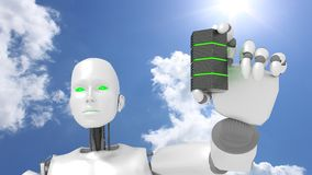 Female robot presents green glowing server Royalty Free Stock Images