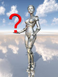 Female robot with question mark Royalty Free Stock Image