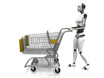 Female robot with shopping cart. A female robot pushing a shopping cart on white background Royalty Free Stock Images