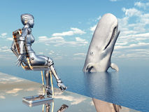 Female Robot and Sperm Whale Royalty Free Stock Images