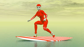 Female robot on a surfboard Royalty Free Stock Images