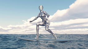 Female robot on a surfboard Stock Photo