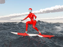Female robot on a surfboard Royalty Free Stock Photos