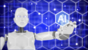 Female robot touching artificial intelligence hexagon grid. Concept 3D illustration infographic hexagon grid with hand of a female robot pointing to a the
