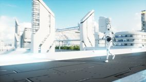 Female robot walking. Futuristic city, town. People and robots. Realistic 4K animation. Female robot walking. Futuristic city, town. People and robots