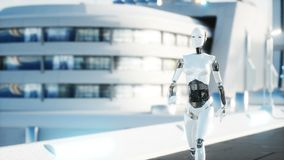 Female robot walking. Futuristic city, town. People and robots. Realistic 4K animation. Female robot walking. Futuristic city, town. People and robots stock illustration
