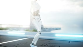 Female robot walking. Futuristic city, town. People and robots. Realistic 4K animation. Female robot walking. Futuristic city, town. People and robots royalty free illustration