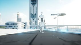 Female robot walking. Futuristic city, town. People and robots. Realistic 4K animation. stock illustration