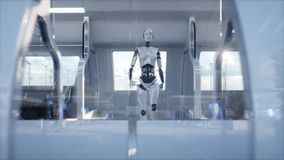 Female robot walking. Sci fi station. Futuristic monorail transport. Concept of future. People and robots. 3d rendering. Royalty Free Stock Image