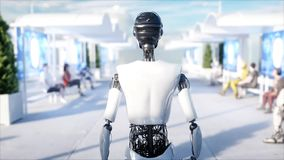 Female robot walking. Sci fi station. Futuristic monorail transport. Concept of future. People and robots. 3d rendering. Stock Photos