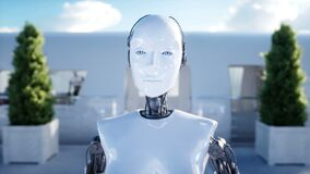 Female robot walking. Sci fi station. Futuristic monorail transport. Concept of future. People and robots. Realistic 4K
