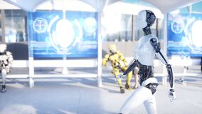 Female robot walking. Sci fi station. Futuristic monorail transport. Concept of future. People and robots. Realistic 4K. Animation stock video footage