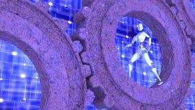 Female robot walks inside rusty gears Stock Images