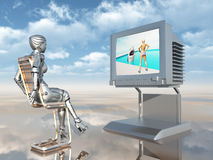 Female robot watching TV Stock Images