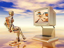 Female robot watching TV Royalty Free Stock Photography