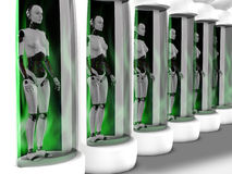 Female robots standing in sleeping chambers. Stock Photography
