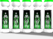 Female robots standing in sleeping chambers. Royalty Free Stock Photo