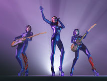 Female rock band in concert Stock Photography