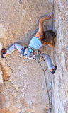 Female rock climber. Royalty Free Stock Photo