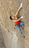 Female rock climber. Royalty Free Stock Images