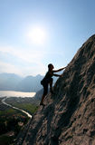 Female rock climber royalty free stock photos