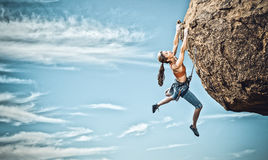 Free Female Rock Climber. Stock Images - 63058244
