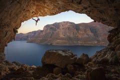 Female rock climber Royalty Free Stock Photos