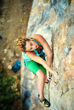 Female rock climber Royalty Free Stock Photography