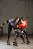 Female Roller Derby Skaters Posing Stock Photography
